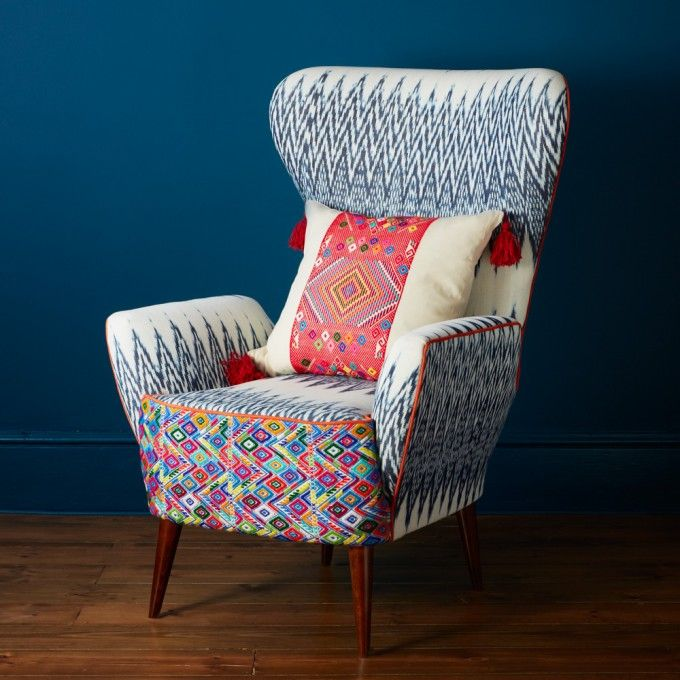 a very attractive ikat chair from arum fellow with great cushion rh pinterest com Modern Arm Chair Turquoise Ikat Arm Chairs