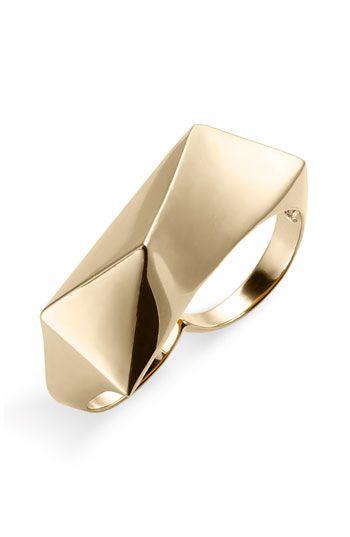 Ariella Collection Angular Metal 2 Finger Ring Geometric Jewelry