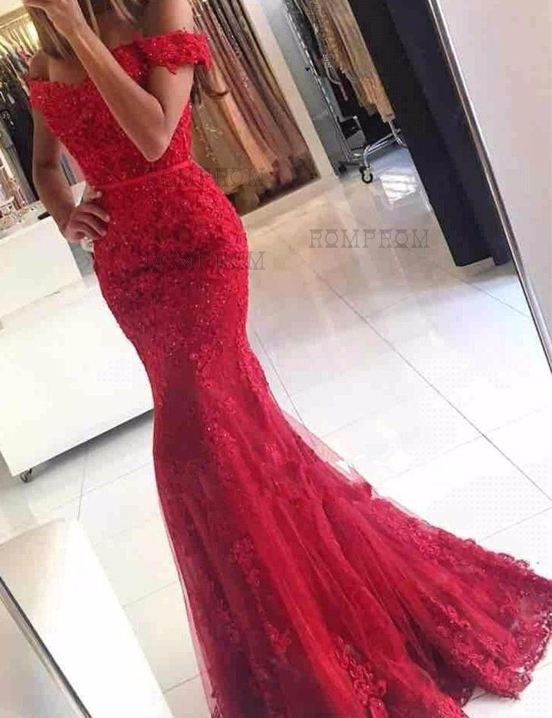 Mermaid off the shoulder short sleeveless lace red prom dress with