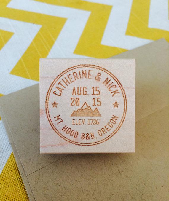 Mountain Address Stamp, Outdoor Wedding Stamp, Destination