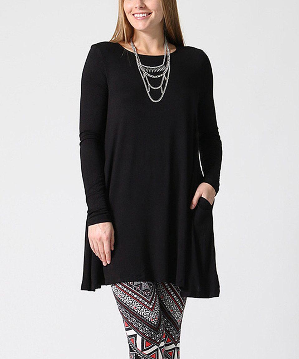 Black Pocket Long-Sleeve Tunic - Plus | Tunics