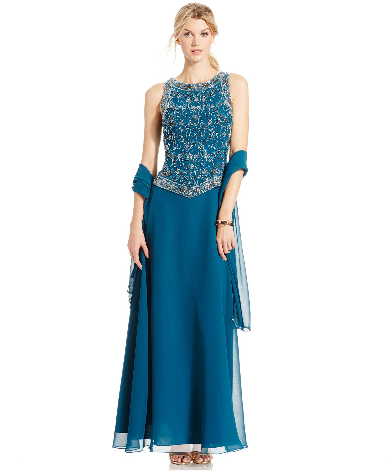 J Kara Beaded Bodice Sleeveless Gown - at Macy\'s: Reg. $239.00 ...