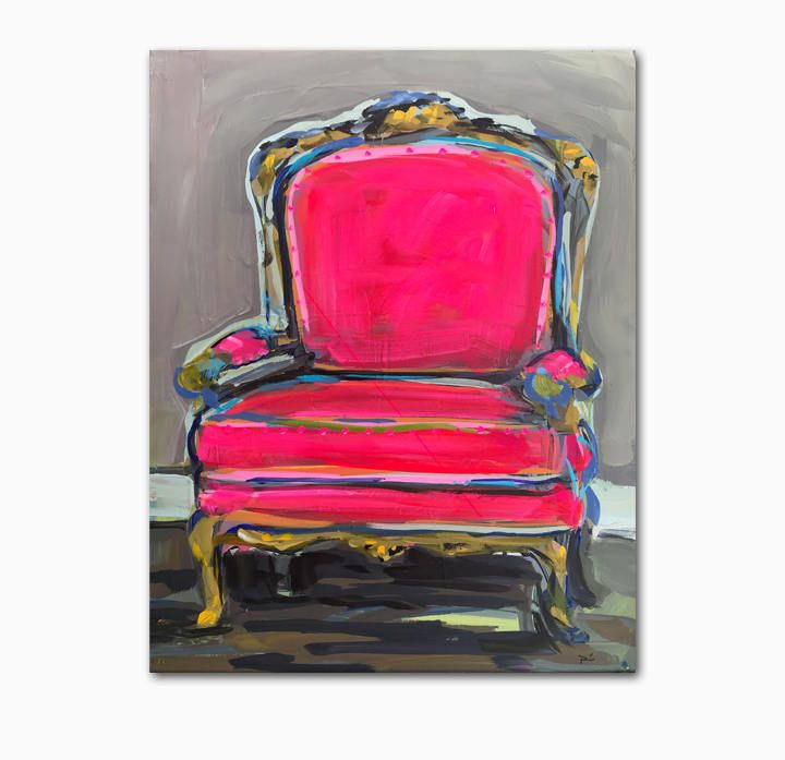 Chair Painting On Canvas Original Art Art Chair Pink Chair Painted Chairs