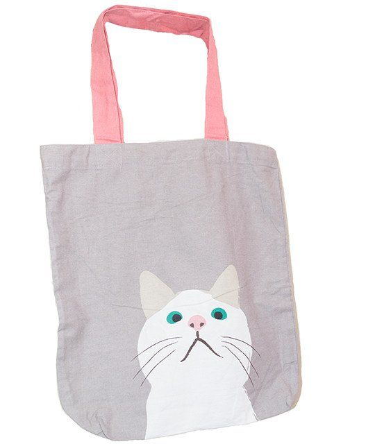 e67b41537054 Printed Grey Cat Tote Bag - Buy Online Canvas Tote Bags in India -  GraceIndia.Style  PrintedGreyCatToteBag  PrintedToteBag
