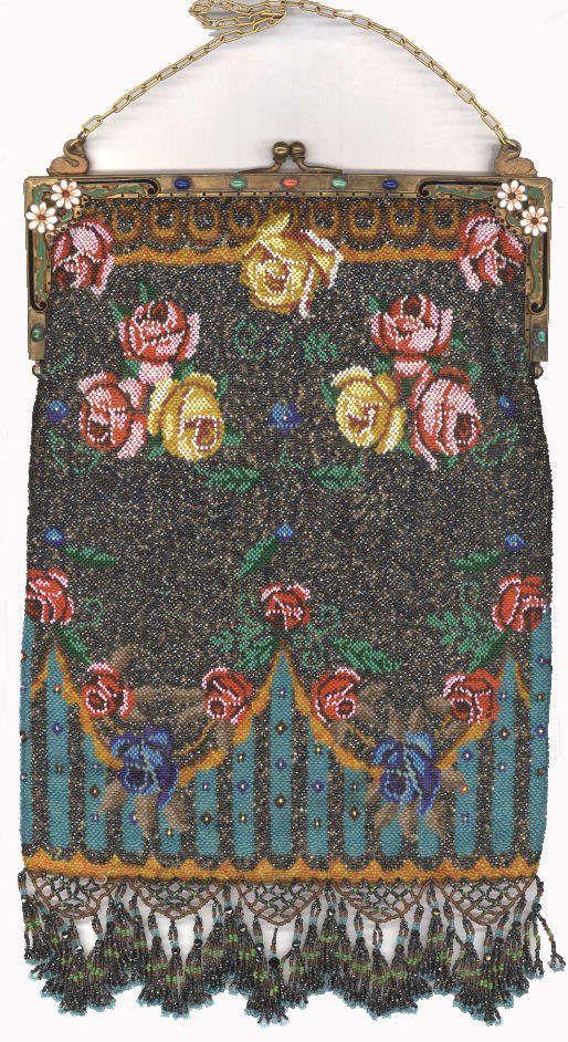 Floral Beaded Purse with Spectacular Large Jeweled & Enameled Frame & FLUFFY Tassel Lattice Fringe.  Click on image for more photos.