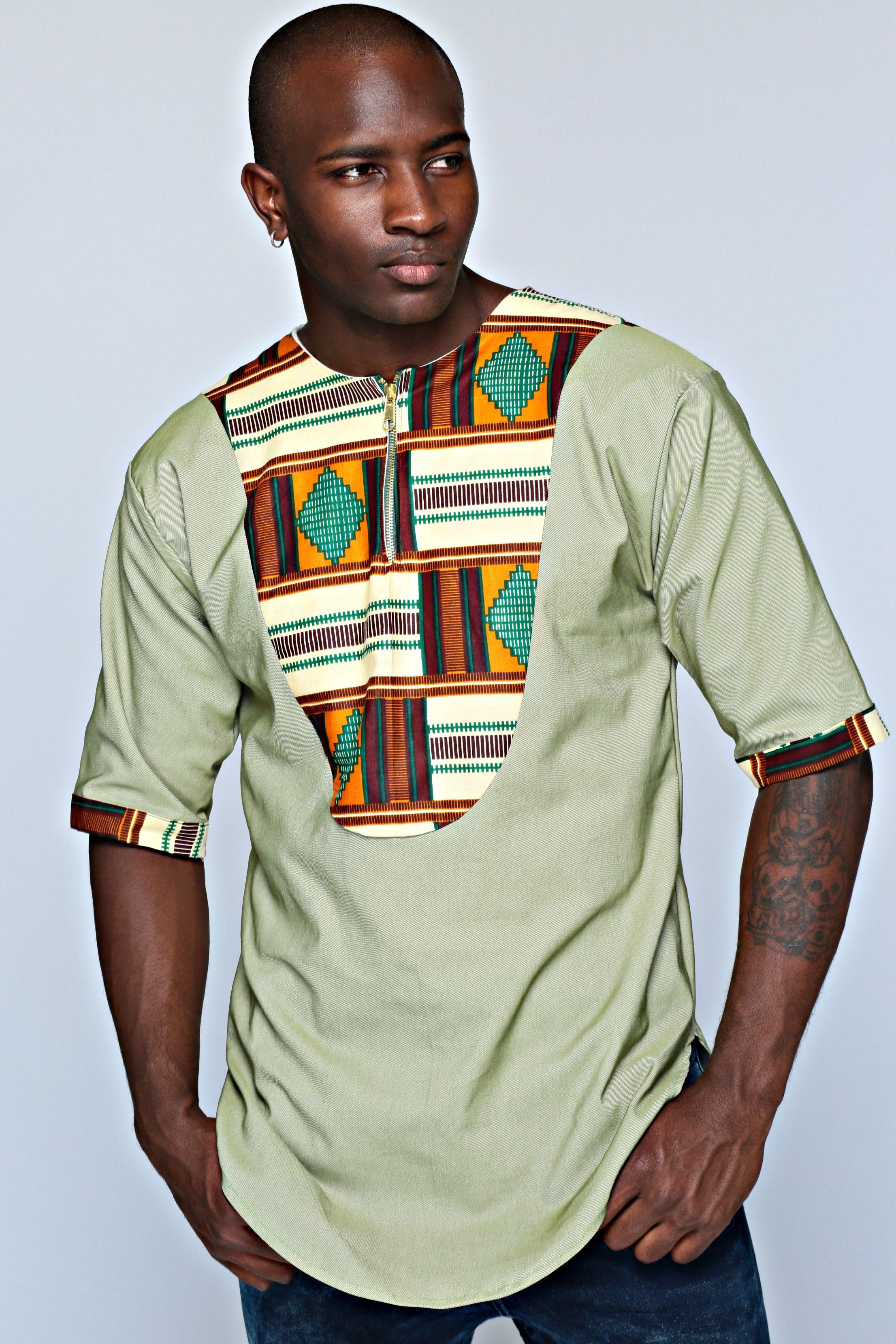 Elegant and Authentic men Linen/Bogolan dress Shirt J0GOC