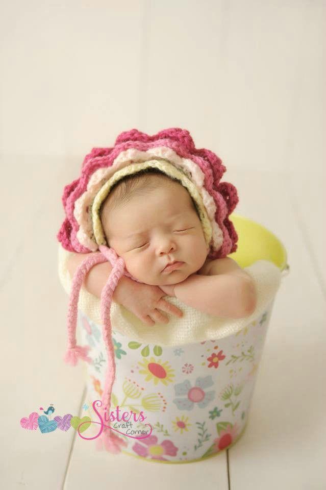 Crochet baby flower bonnet newborn bonnet baby flower newborn photo prop spring summer baby flower crochet baby and newborn photo props