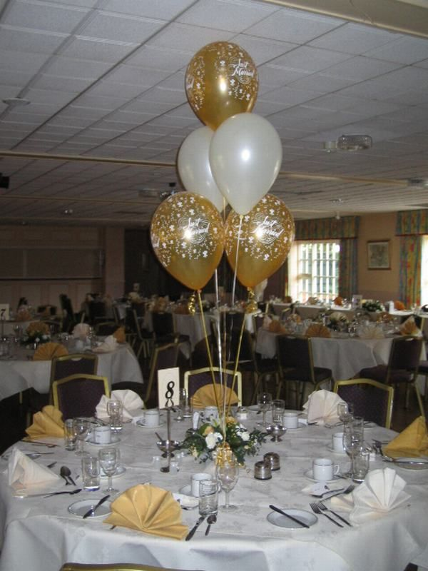 table flower arrangements with balloons centres image