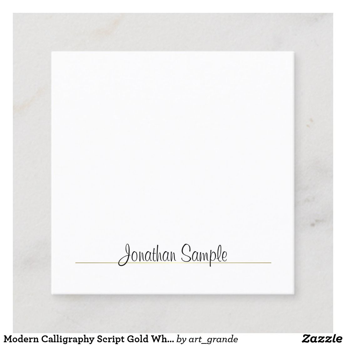 Modern Calligraphy Script Gold White Cool Template Square