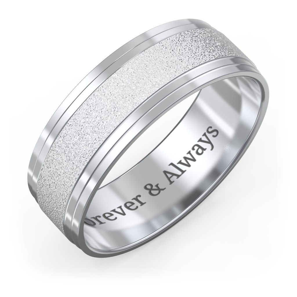 Men's Wedding Band with Double Step Edge