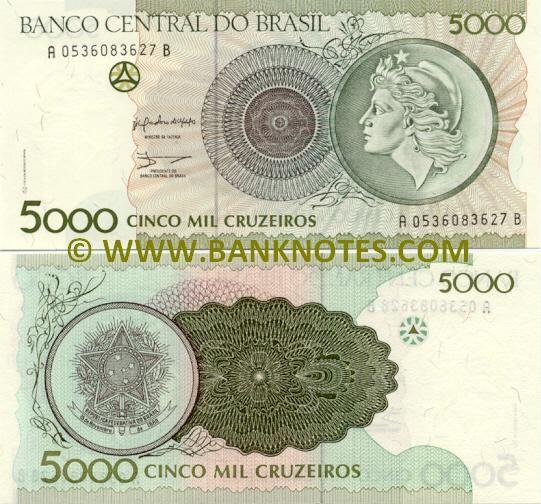 Brazil 5000 Cruzeiros 1990 Fotos De Dinheiro Notas Cruzeiro