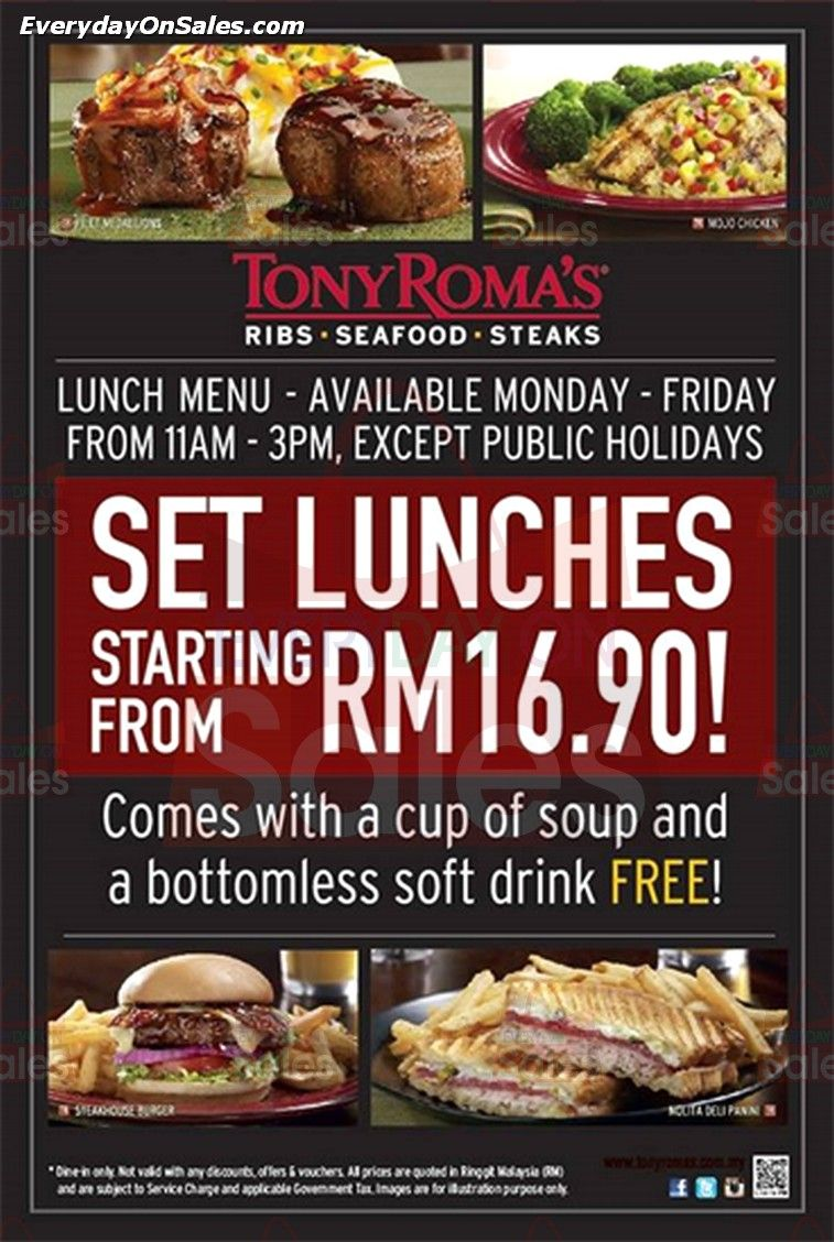 Tony Roma S Set Lunches Promotion In Malaysia Lunch Steak Lunch Food