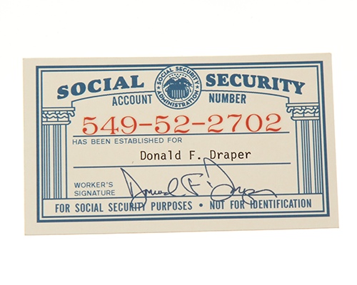 Don S Social Security Card Current Price 100 Mad Men Don Draper Mad Men Social Security Card