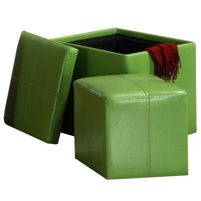 Homesullivan Green Bi Cast Vinyl Storage Cube Ottoman With A Smaller Ottoman Inside 404723gr At The Home Depo Storage Cube Ottoman Storage Ottoman Cube Ottoman