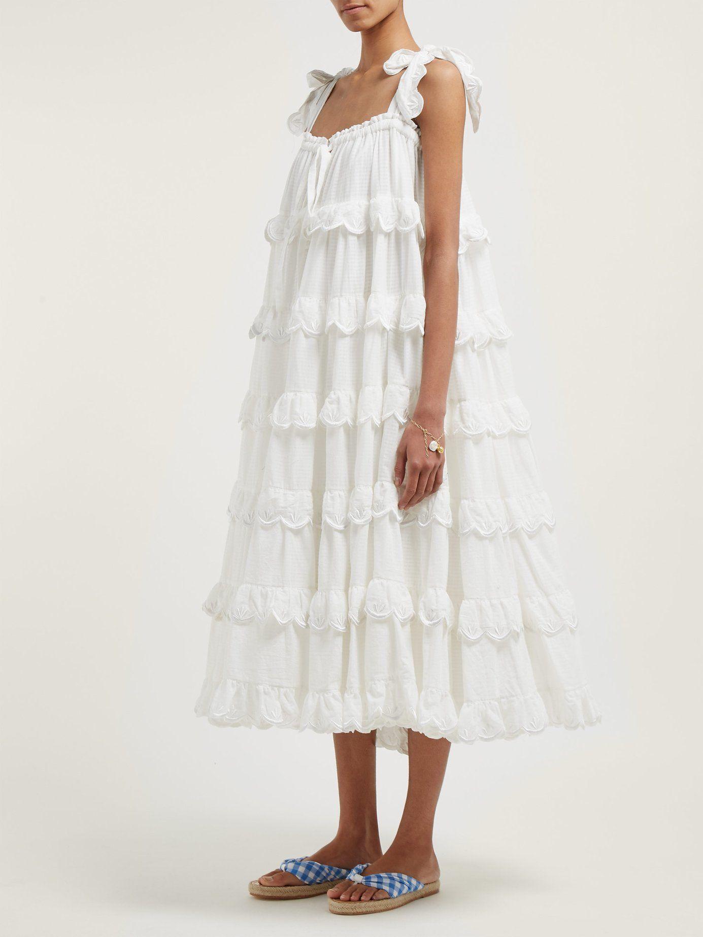 Iva Biigdres Tiered Cotton Midi Dress Innika Choo Cotton Midi Dress Tiered Midi Dress Dresses [ 1846 x 1385 Pixel ]