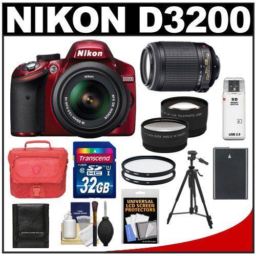 Nikon D3200 Digital Slr Camera 18 55mm G Vr Dx Af S Zoom Lens Red With 55 200mm Vr Lens 32gb Card Case Digital Slr Camera Camera Gift Nikon D3200