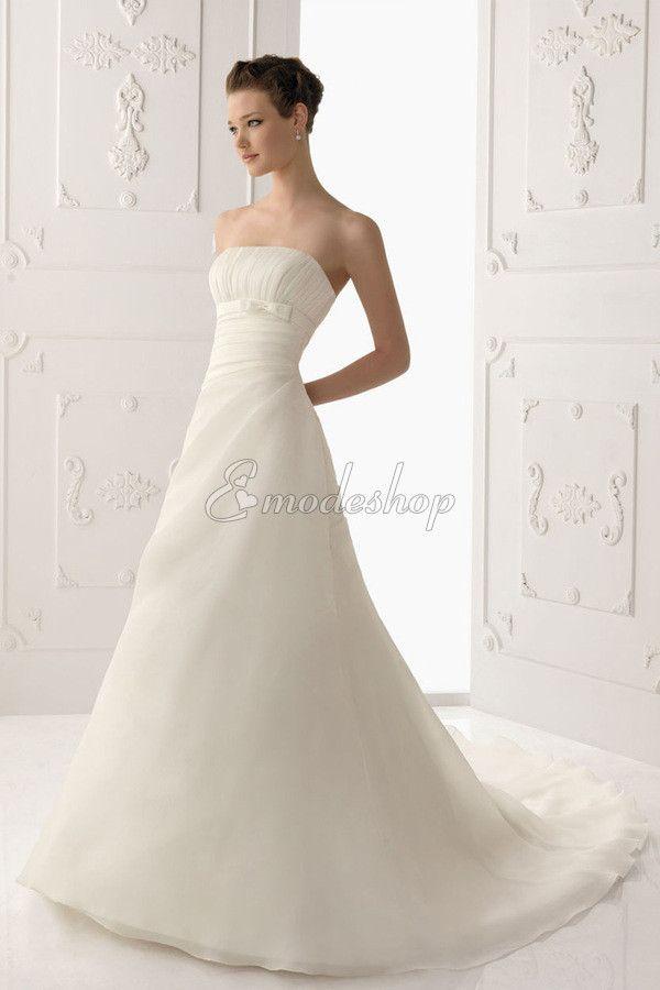 Gerüschtes Organza prächtiges Brautkleid mit Falte Mieder mit Kapelle Schleppe