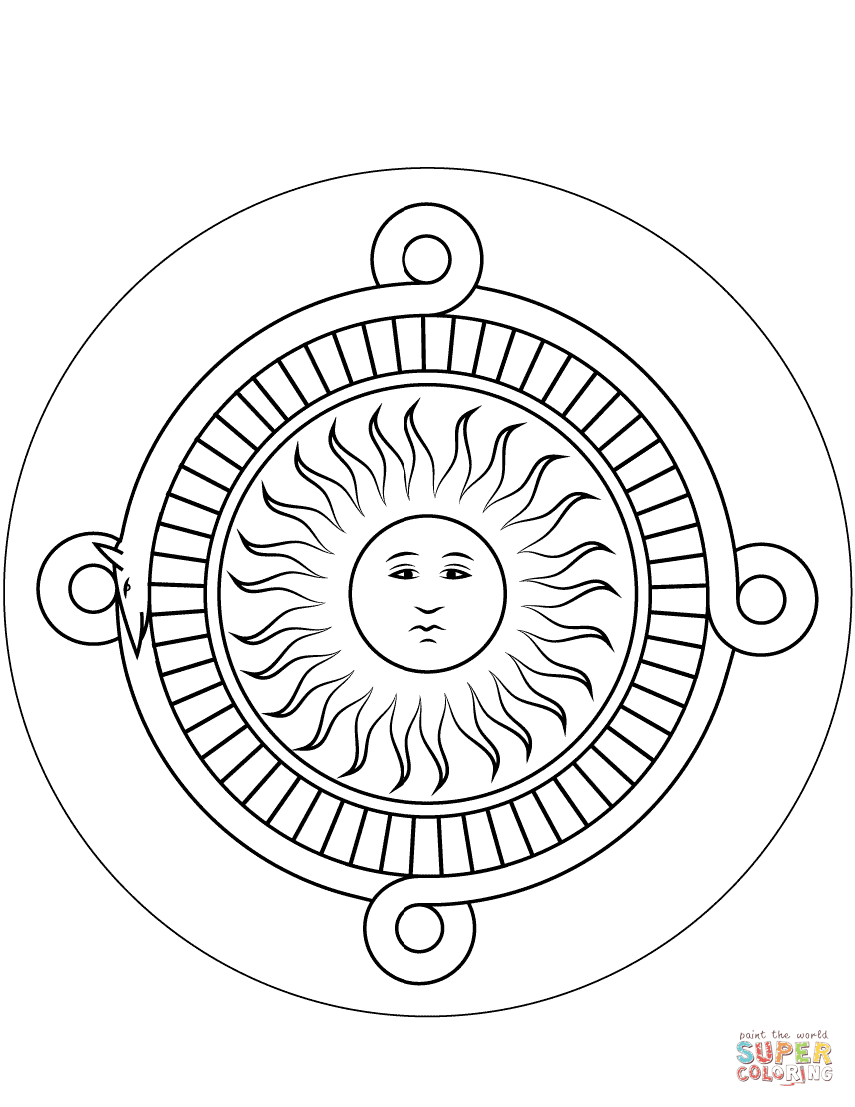 Aztec Calendar Stone Coloring Page Free Printable Coloring Pages Sun Coloring Pages Mandala Coloring Pages Free Coloring Pages