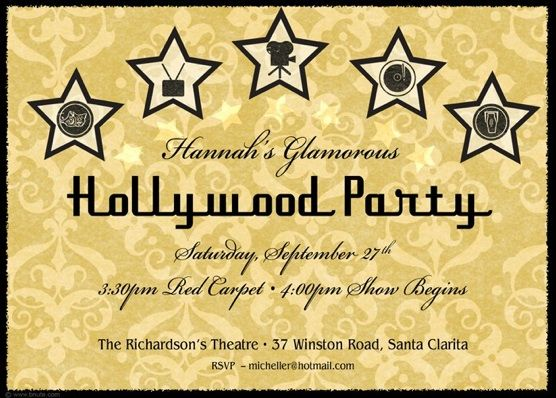Hollywood Glamour Party Invitations Decorations Art Activites