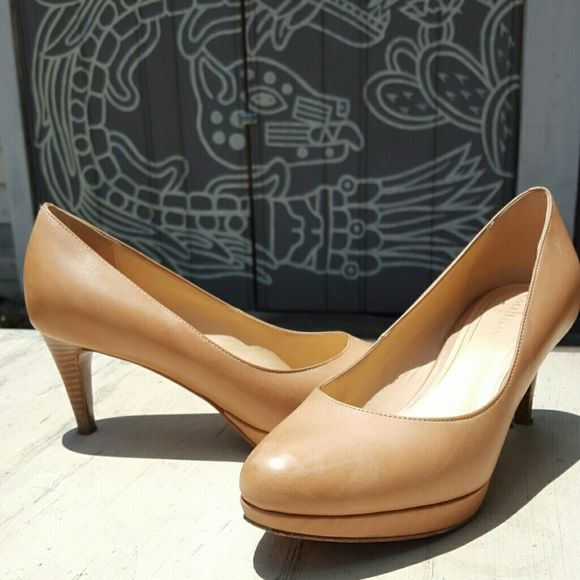 5217cb0c284 Cole Haan Nile Air pump Nude leather pump, low heel, small platform ...