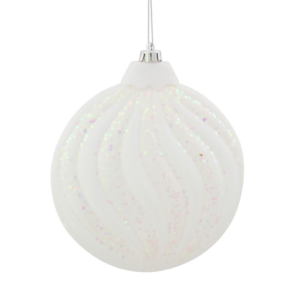 Flat glass ornaments - 6 Inch Matte Glitter Flat Christmas Ball Ornament White