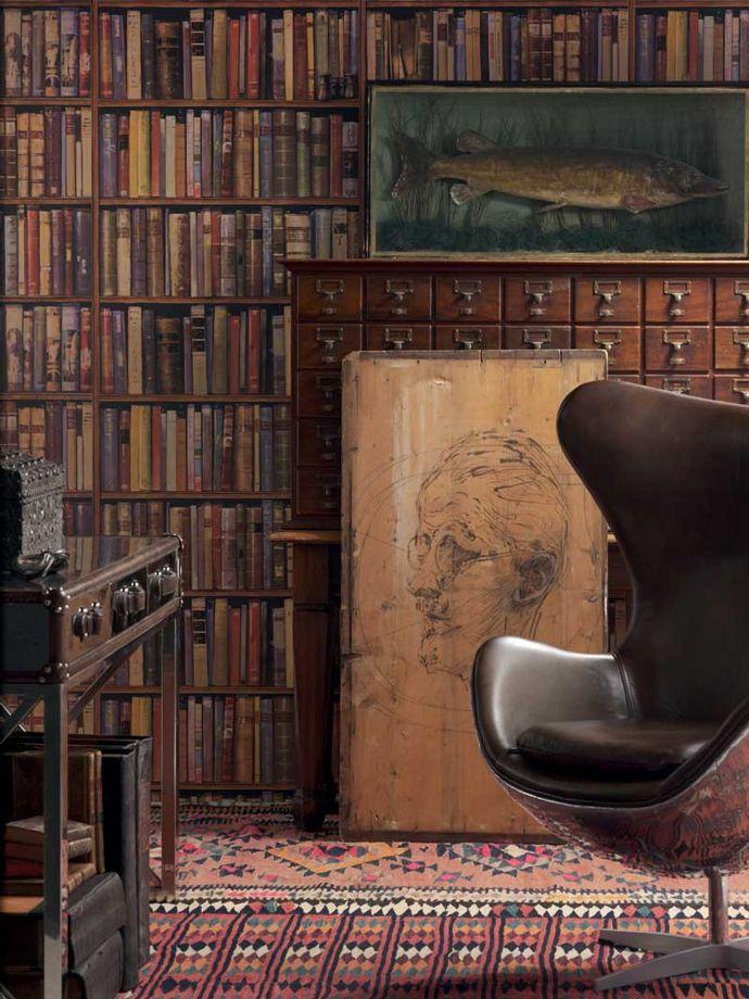 фотообои имитация книжных полок откосы