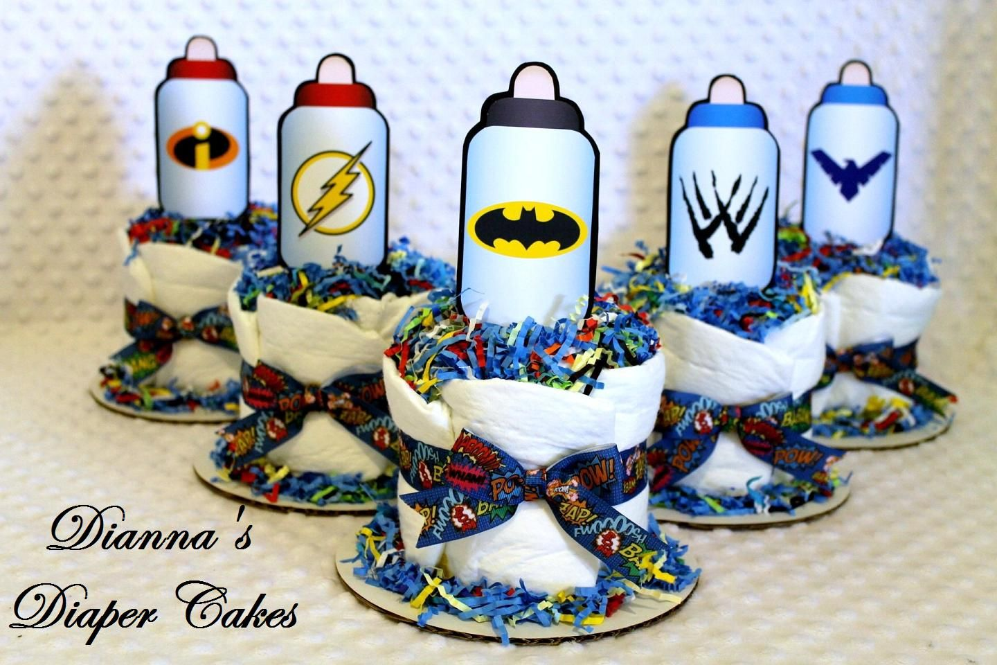 superhero baby shower ideas | Superhero Baby Bottles Mini Diaper Cakes Shower  Centerpieces