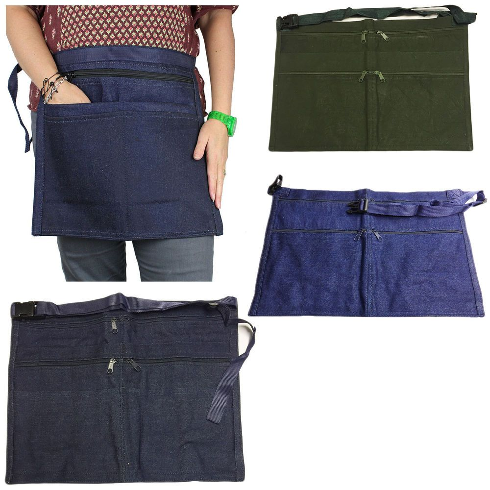 6 Pocket Denim Market Trader Money Belt Bag Apron Pouch Adjustable Waist Strap