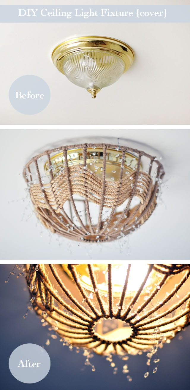 DIY Rope Pendant Lamp, How to disguise old and ugly ceiling fixtures  without rewiring