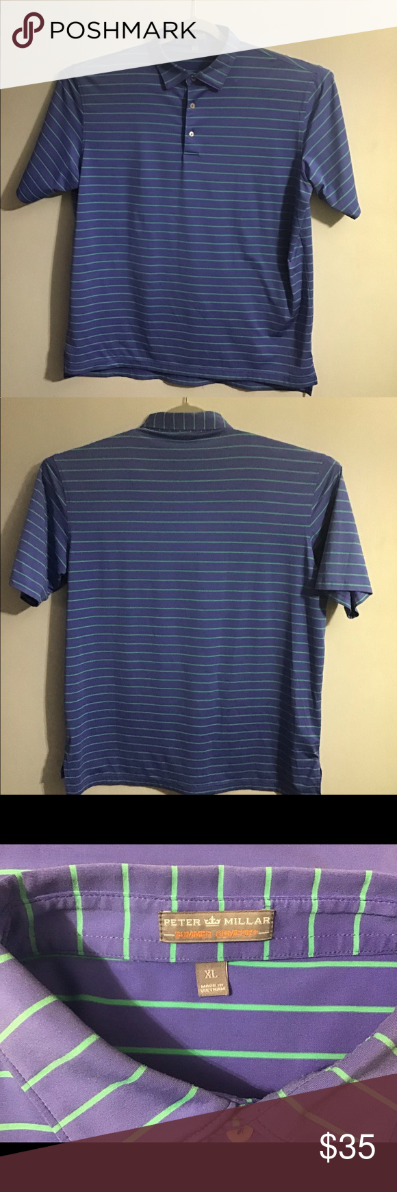 Peter Millar Summer Comfort striped polo. XL in 2020