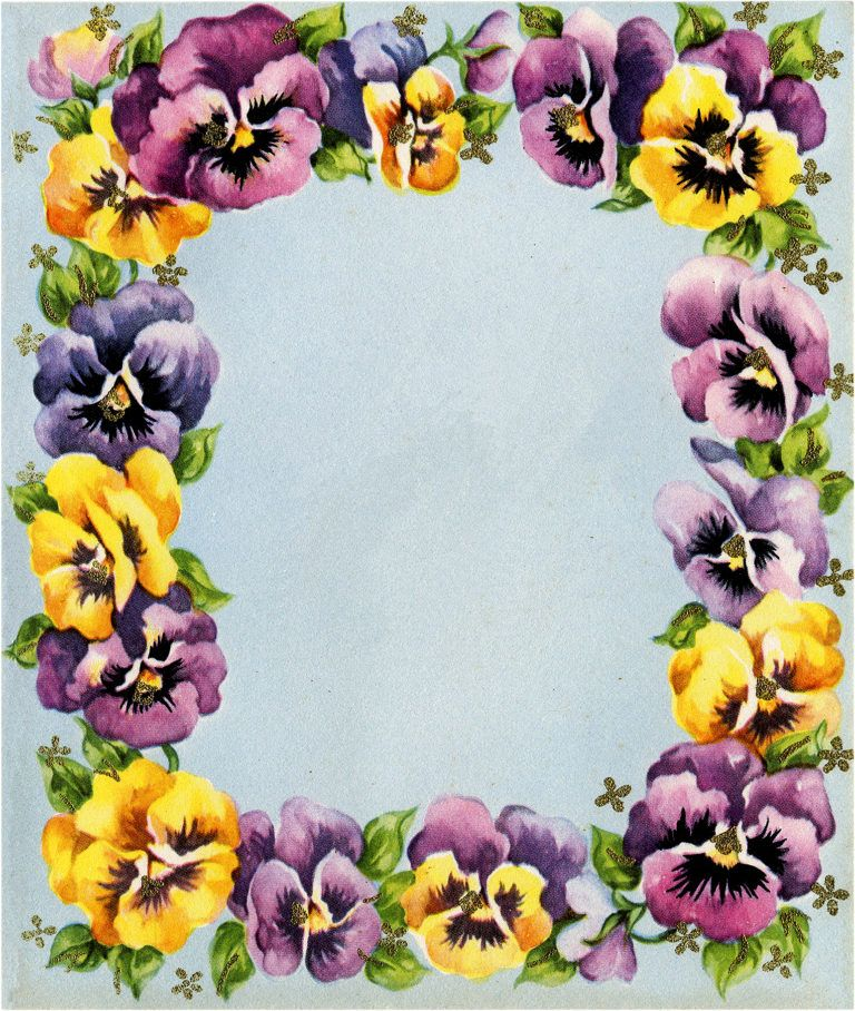 Retro Pansies Graphics Set 7 Pieces 1950s 1940s Pansies Wreath Drawing Flower Drawing