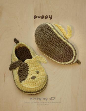 Puppy Baby Booties Crochet PATTERN, SYMBOL DIAGRAM (pdf) | Häkeln ...