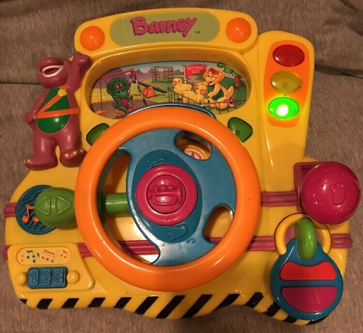 Barney steering wheel driving electronic toy driver songs