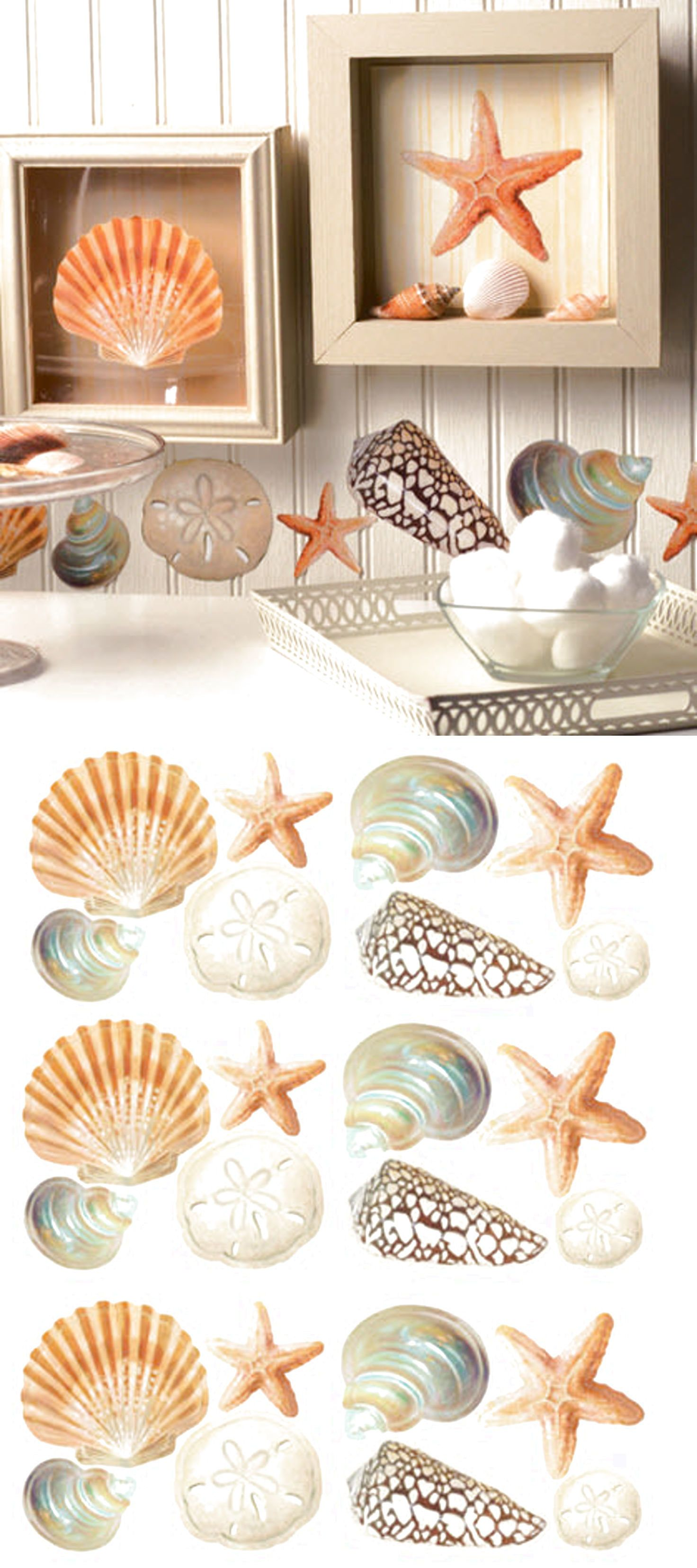 WALLIES SEASHELLS Wall Stickers 24 Decals Bathroom Decor Shells Ocean Sea  Beach $16.99