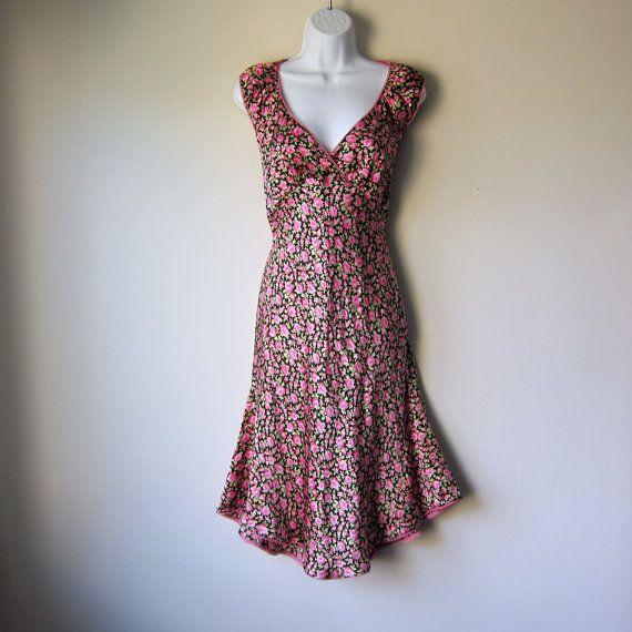 90s Betsey Johnson Dress -- Gorgeous Bias Cut Silk Dress w/ Floral ...