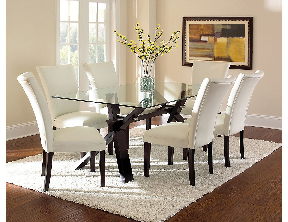 Berkley 7 Piece Dining Package Berk Pk7 The Brick Glass Dining Table Decor Glass Top Dining Table Glass Dinning Table