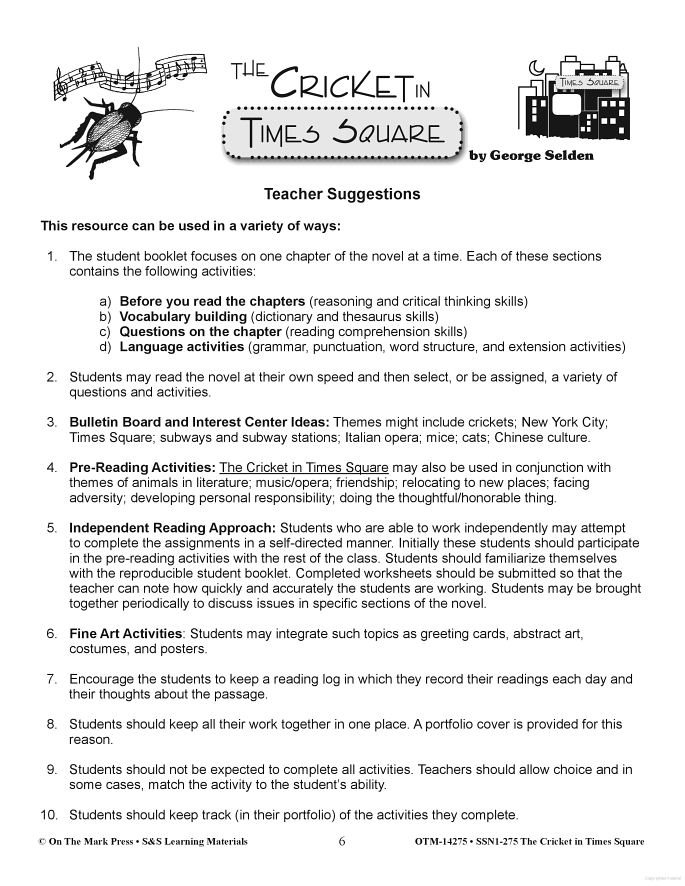 The Cricket In Times Square Cricket In Times Square Literature Circles Critical Thinking Skills