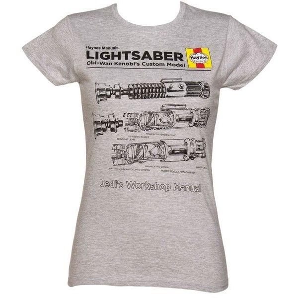 Ladies Grey Marl Haynes Manual Light Saber Technical Drawing Star Wars... ❤ liked on Polyvore featuring tops, t-shirts, star wars, nintendo, nintendo t shirts and nintendo tee