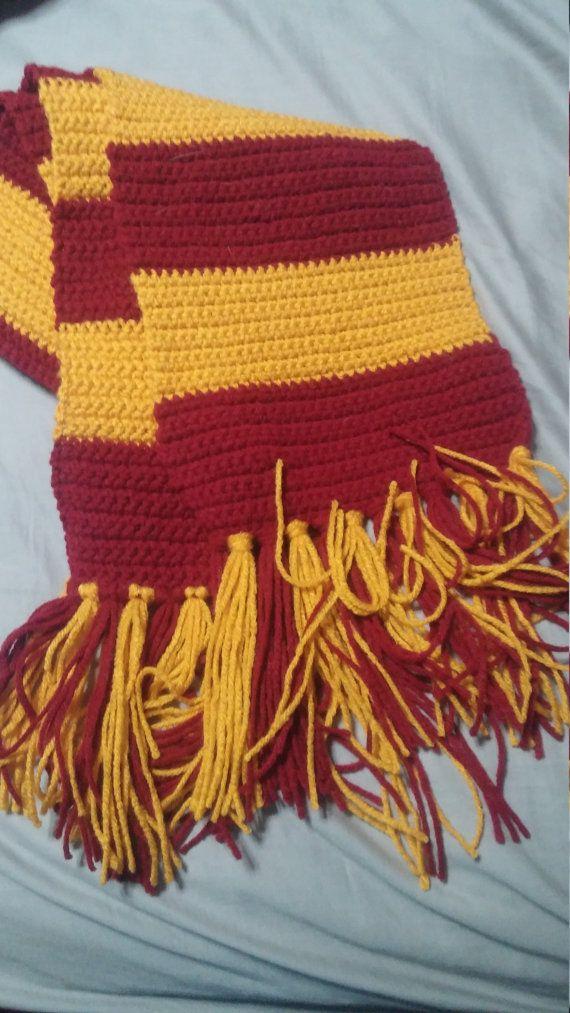 Crochet Gryffindor Harry Potter Scarf Made To Di Brigittewhoas