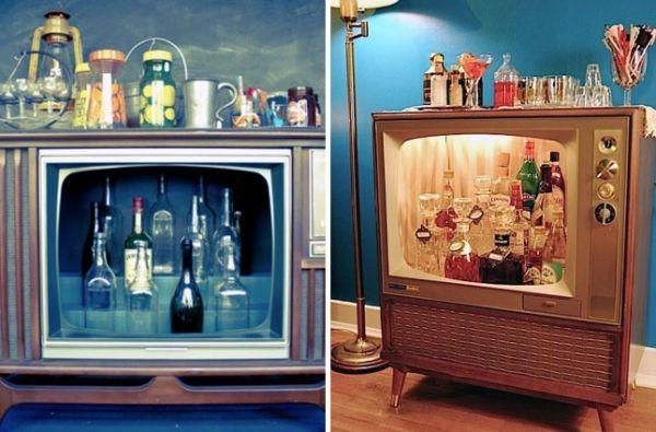 kleine eigene hausbar einrichtungsideen alter fernseher retro look upcycle my world pinterest. Black Bedroom Furniture Sets. Home Design Ideas