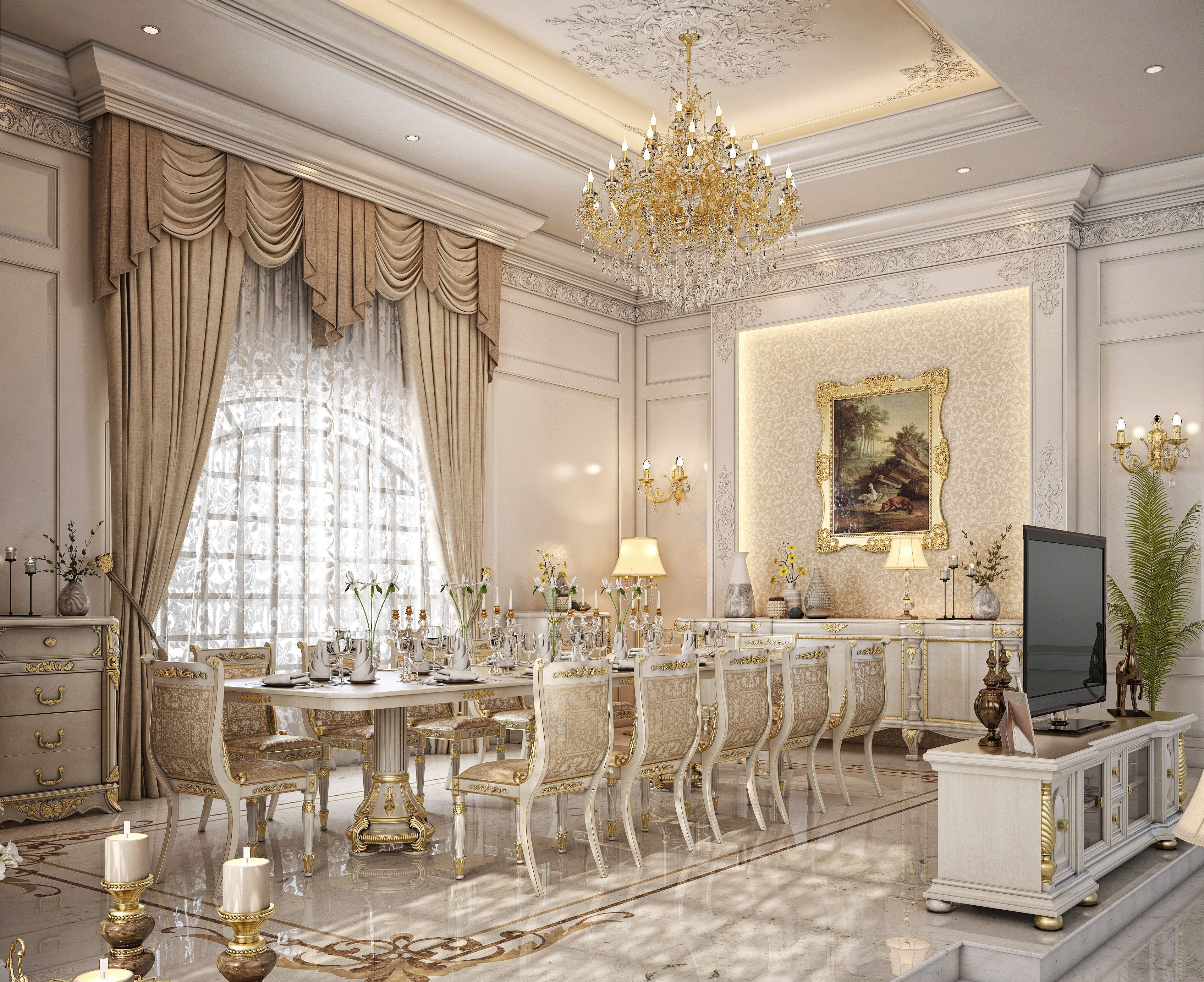 Dining  living room design for a private palace at Doha