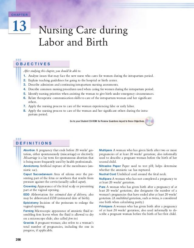 CHAPTER13 Nursing Care during Labor and Birth OBJECTIVES After - nursing care plan example
