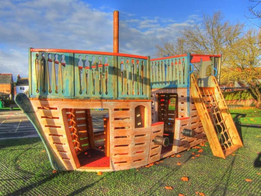 Canons and climbing rope houghton conquest school outdoor wooden play area pirate ship - How to build an outdoor wooden playground ...
