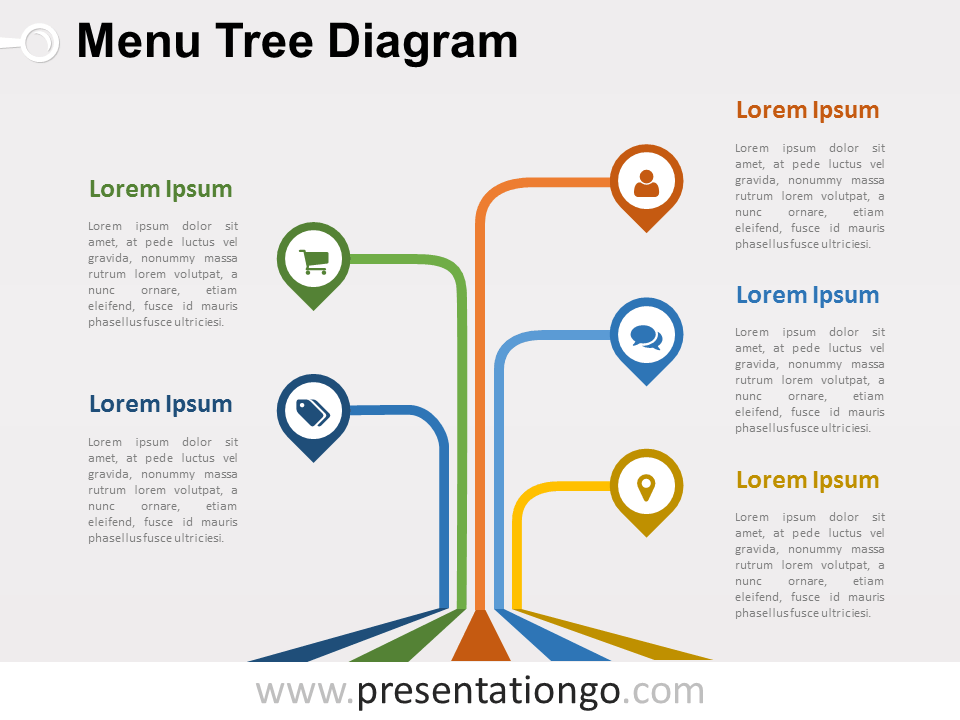 Menu Tree Powerpoint Diagram  PresentationgoCom  Diagram Menu