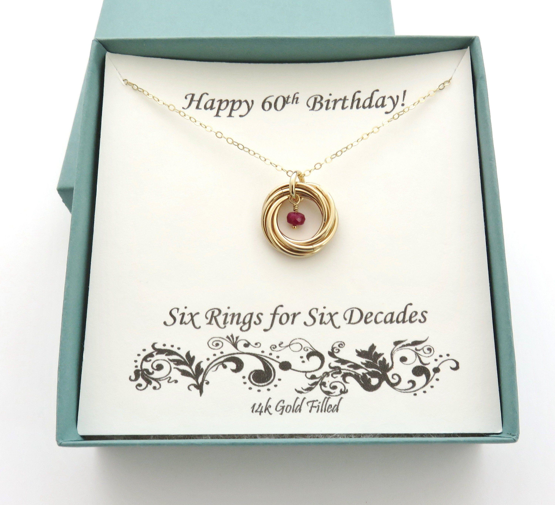 60th birthday gift gold necklace 60th birthday birthstone