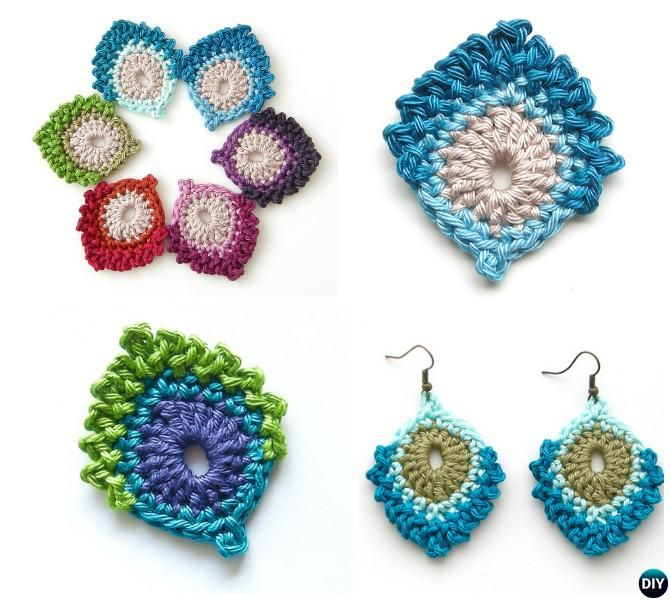 16 Crochet Peacock Feather Free Patterns | Pendientes, Ganchillo y ...