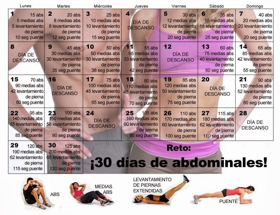 rutina de ejercicios reto 30 dias