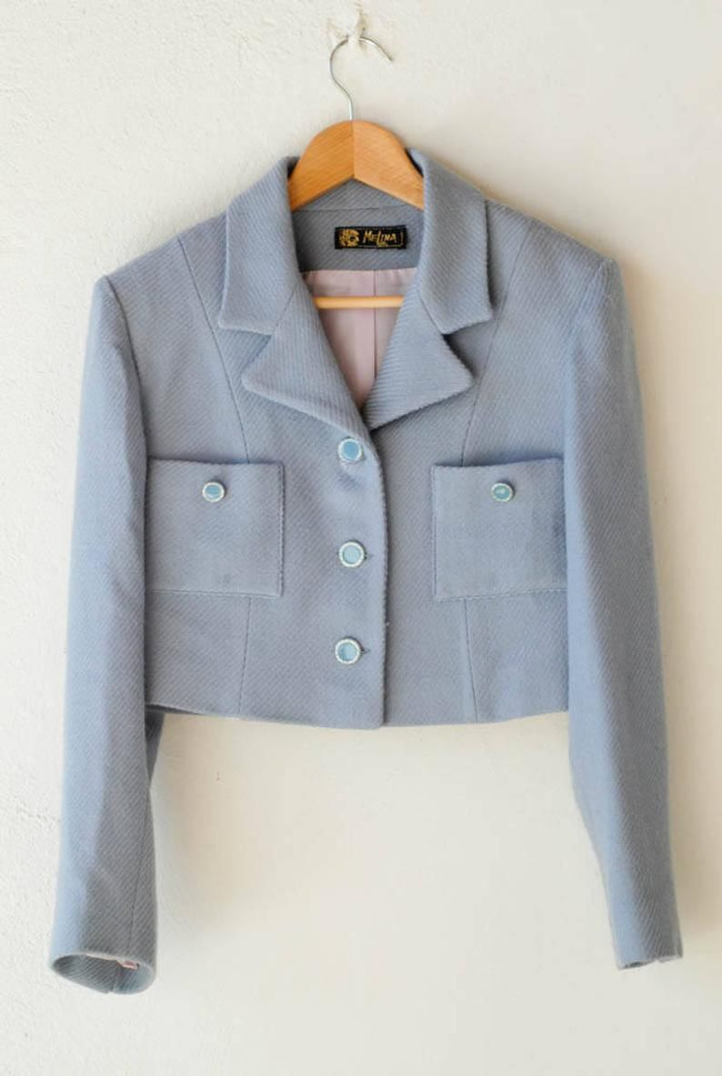 Rhinestone Buttons Madmen Jacket Lined Jacket Swing Coat Vintage 1950s Jacket Blue Wool Coat Made in Mexico Baby Blue Wool