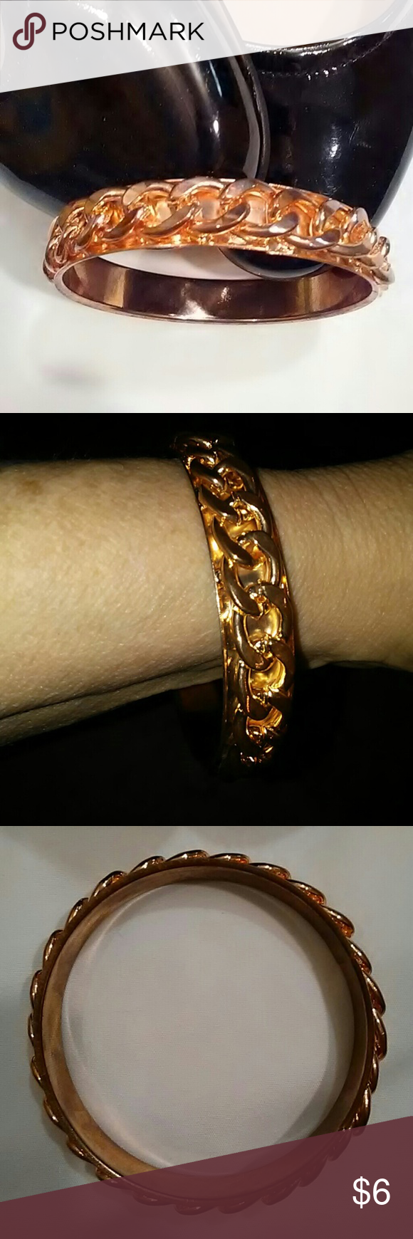 Torrid Brand Plus Size Bangle Bracelet Rose Gold Colored Metal Nickel Free With Chain Detail Around The Outside