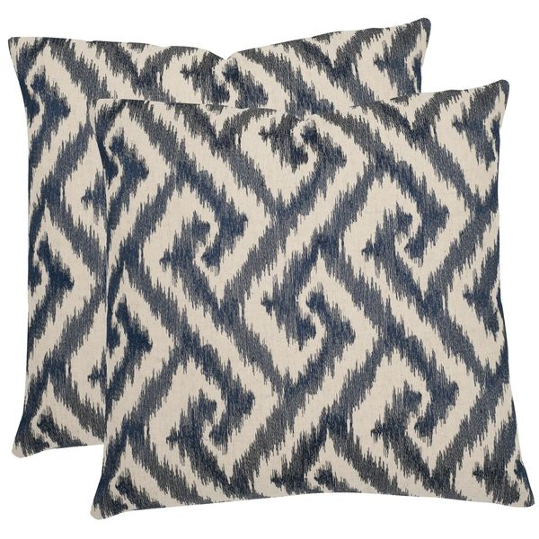 Safavieh Teddy Blue 22-inch Square Throw Pillows (Set of 2)